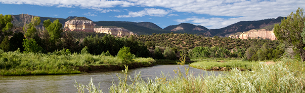The Rio Chama, or Chama River, flows through scenic