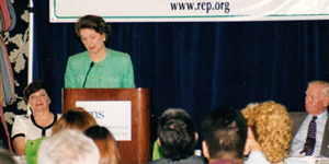 Susan Eisenhower addresses the attendees at REP's