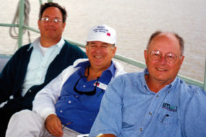 Sam Booher (l), John Whitescarver (c), and Jim Ridenour on the boat ride to Pelican Island